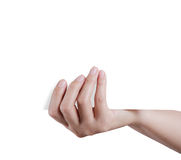 Hand holding empty paper Royalty Free Stock Photos