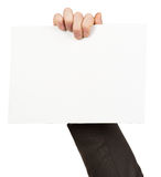 Hand holding empty paper Royalty Free Stock Photography