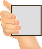 Hand holding an empty paper, vector illustration Stock Photos
