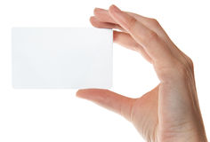 Hand holding an empty plastic card Stock Images