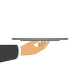 Hand holding an empty silver tray. royalty free illustration