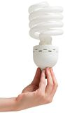 Hand holding energy efficient light bulb Royalty Free Stock Image