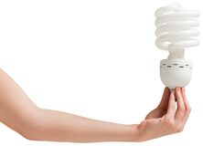 Hand holding energy efficient light bulb Royalty Free Stock Photography
