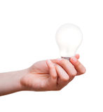 Hand holding energy saving lamp Stock Photos