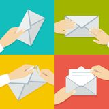 Hand Holding Envelope. Flat style vector Stock Photography