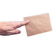 Hand holding envelopes with letters on the white background isol. Ated Royalty Free Stock Photos
