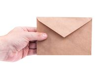 Hand holding envelopes with letters on the white background isol. Ated Stock Images