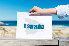 Hand Holding Espana Sign At Beach Stock Photos