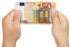 Hand Holding 50 euro banknote Isolated Royalty Free Stock Photos
