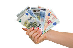 Hand holding Euro banknotes isolated Royalty Free Stock Photos