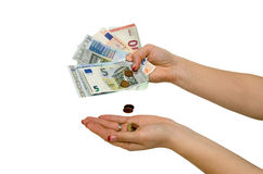 Hand holding Euro banknotes isolated Royalty Free Stock Photo