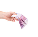 Hand holding euro banknotes. Stock Image