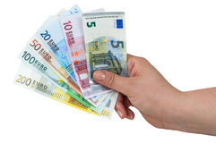Hand holding euro banknotes Stock Image