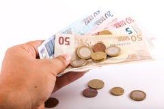 Hand holding euro Royalty Free Stock Image