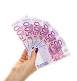 Hand holding 500 euro money isolated on white background Stock Photos