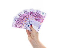 Hand holding 500 euro money isolated on white background Royalty Free Stock Image