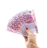 Hand holding 500 euro money isolated on white background Royalty Free Stock Photos