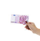 Hand holding 500 euro money isolated on white background Royalty Free Stock Images