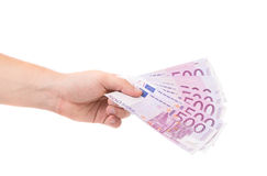 Hand holding euro notes. Royalty Free Stock Images