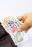 Hand holding euro notes in wallet Royalty Free Stock Photography