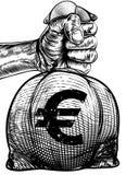 Hand Holding a Euro Sign Burlap Sack Money Bag Royalty Free Stock Photos