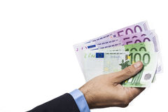 Hand Holding Euros Stock Photography