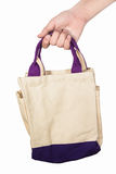 Hand holding fabric bag Stock Images