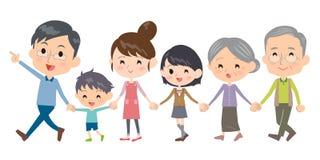 Hand holding family three generations Walking Stock Photography