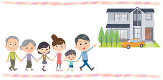 Hand holding family three generations Walking House tour Stock Photography