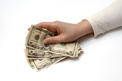 Hand Holding Fan of Money Stock Photos