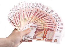 Hand holding fan Russian banknotes Royalty Free Stock Image