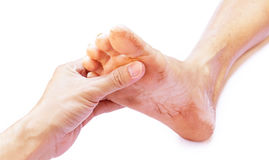 Hand holding feet old women, take care feeling with white backgr Royalty Free Stock Images
