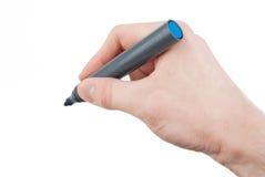 Hand holding felt tip pen isolated. On white background Royalty Free Stock Photo