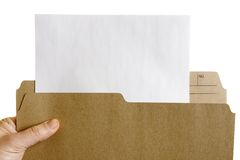 Hand holding file with blank sheet of paper Royalty Free Stock Photography