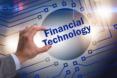 The hand holding financial technology fintech concept Royalty Free Stock Photos