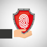 Hand holding fingerprint shield protection data. Vector illustration eps 10 Royalty Free Stock Photography