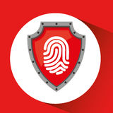Hand holding fingerprint shield protection data. Vector illustration eps 10 Royalty Free Stock Photo