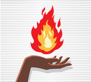 Fire Hand. Hand holding fire, mastering heat and energy Royalty Free Stock Photo