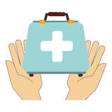 Hand holding a first aid kit. Vector illustration Royalty Free Stock Photography