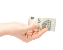 Hand holding five euro note isolated Royalty Free Stock Photos