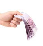 Hand holding five hundred-euro notes. On a white background Stock Photography