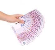 Hand holding five hundreds euro banknotes Royalty Free Stock Image