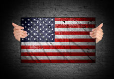 Hand holding flag of usa Stock Photography