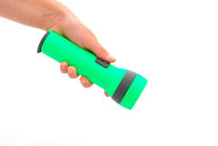 Hand holding flashlight Royalty Free Stock Photography