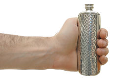 Hand Holding a Flask. Isolated on white Stock Images