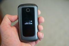 Hand Holding Flip Phone Feature Phone Stock Photos
