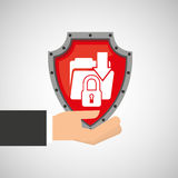 Hand holding folder file shield protection data Stock Photo