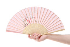 Hand holding folding fan Stock Photos
