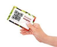 Hand holding food discount coupon with qr code isolated over whi. Te background Royalty Free Stock Image