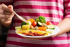 Hand holding fork and eating vegetables salad. Homemade and healthy food Stock Photography